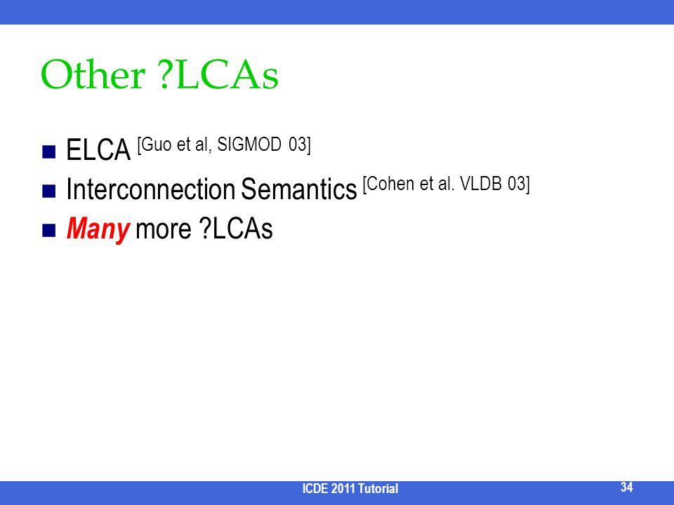 Other LCAs ELCA [Guo et al, SIGMOD 03]